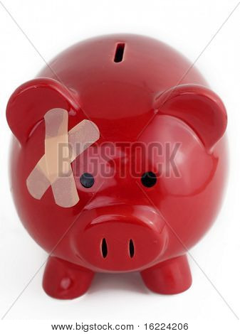 Piggy bank with band aid