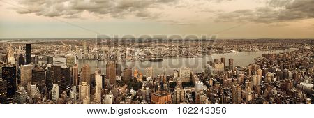 New York City Manhattan east side view panorama with skyscrapers and East River.