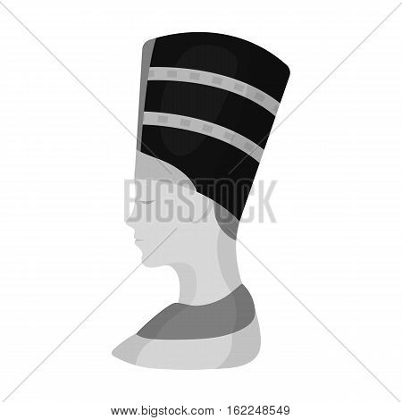 Bust of Nefertiti icon in monochrome style isolated on white background. Ancient Egypt symbol vector illustration.