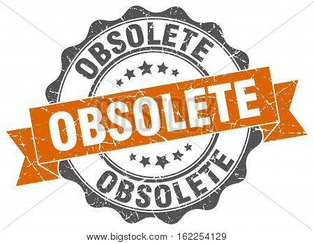 obsolete. stamp. sign. seal. round. retro. ribbon