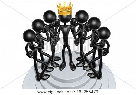 The Original 3D Character Illustration King With Whispering Gossip Advisers