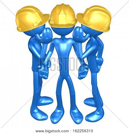 The Original 3D Character Illustration Construction Workers Whispering