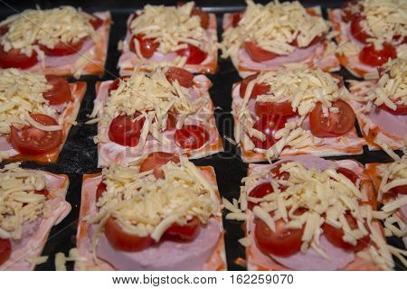 Quick Mini Pizzas Ready For Baking.