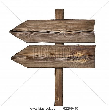 Wooden Direction Sign With Two Arrows In One Direction