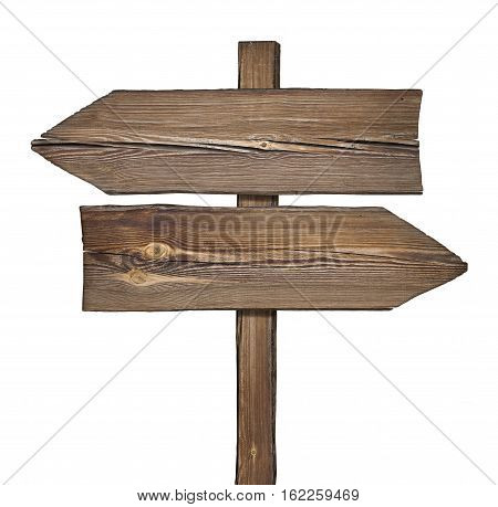 Wooden direction sign with two arrows in opposite directions on white background
