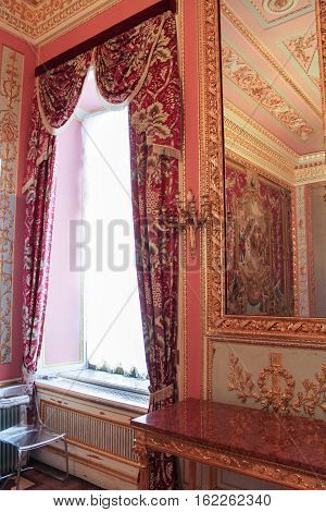 Gatchina, Russia - 3 December, The window in the living room of crimson, 3 December, 2016. Visit the Museum Reserve Gatchina Palace.