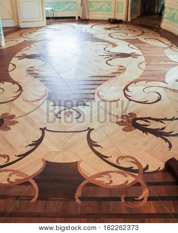 Gatchina, Russia - 3 December, Parquet in the oval boudoir, 3 December, 2016. Visit the Museum Reserve Gatchina Palace.