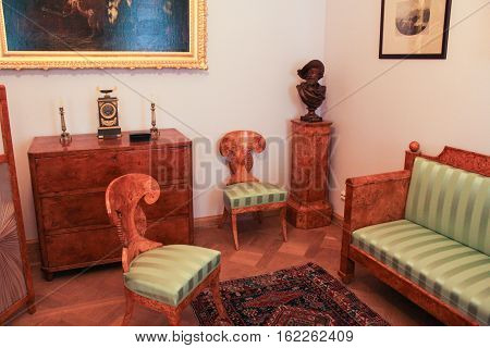 Gatchina, Russia - 3 December, The exposition of antique furniture, 3 December, 2016. Visit the Museum Reserve Gatchina Palace.