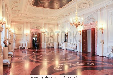 Gatchina, Russia - 3 December, White Hall of the Gatchina Palace, 3 December, 2016. Visit the Museum Reserve Gatchina Palace.
