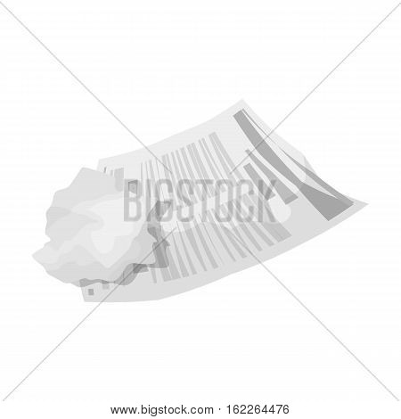Crumpled paper icon in monochrome style isolated on white background. Trash and garbage symbol vector illustration.