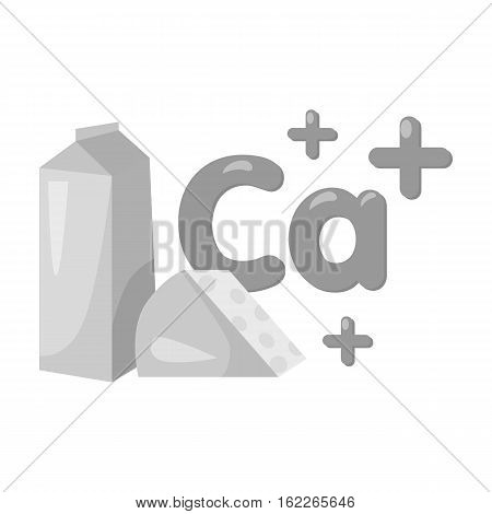 Sources of Calcium icon in monochrome style isolated on white background. Dental care symbol vector illustration.