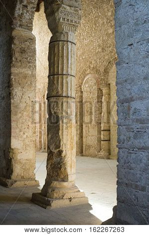 Spectacular columns in the Basilica of San Salvatore. Spoleto, Italy