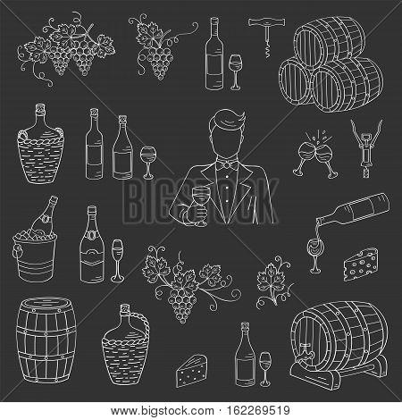Wine and wine making set vector illustrations hand drawn doodle, bottles, glasses, grapes, sommelier, wine tasting, cheese, champagne, barrels, cellar Wine design elements