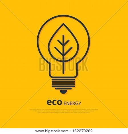 Yellow outline bulb with leaf as logo with copyspace on orange background. Idea of eco-friendly source of energy