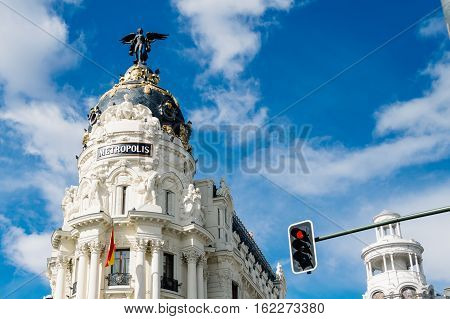 Madrid Spain - September 14 2016: Metropolis building in Gran Via in Madrid. It is an ornate and upscale shopping street located in central Madrid. It is known as the Spanish Broadway.