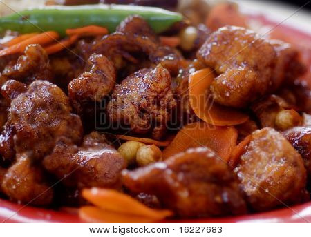 Close up of Chinese chicken meal served on a plate