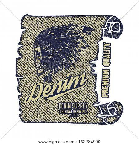 Vintage Denim typography, grunge t-shirt graphics, Artwork apparel stamp, Wear tee print design, goods emblem, jpeg version