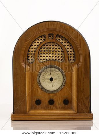 Antique retro wood radio and speaker