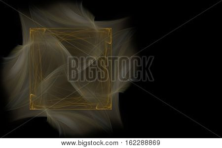 abstract illustration brown square consisting of lines on a gray blurred background in the form of pieces of fabric on a black background on the left side of the screen.