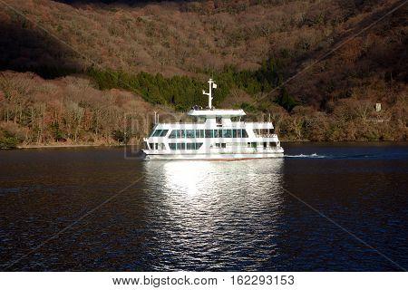 Boat on lake Ashi. Hakone-zenzan National Park.