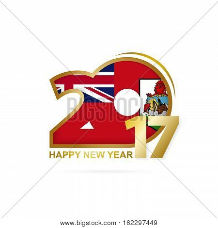 Year 2017 With Bermuda Flag Pattern. Happy New Year Design On White Background.