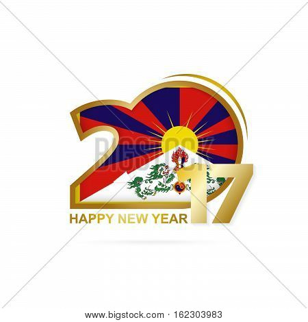 Year 2017 With Tibet Flag Pattern. Happy New Year Design On White Background.
