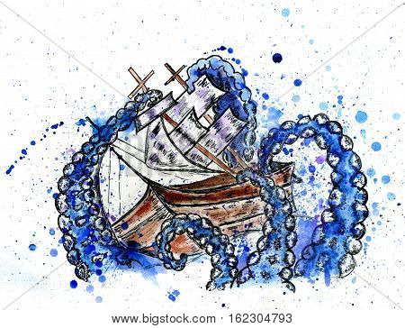 Giant octopus catches sail ship grunge watercolor illustration.