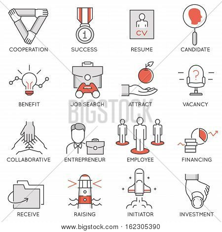 Vector set of flat linear icons related to business management strategy career progress and business process. Mono line flat pictograms and infographics design elements - 1