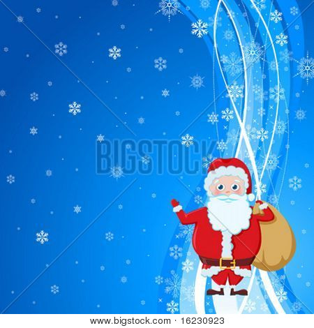 santa are standing with bag full of presents and greeting everybody