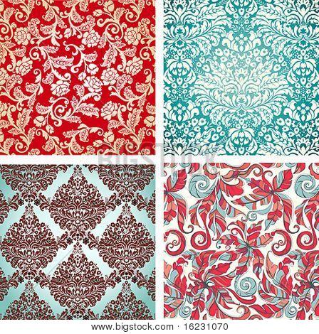 Seamless Damask floral background pattern. Vector illustration.