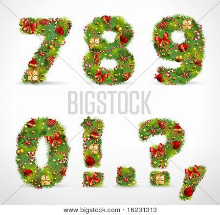 7890, vector christmas tree font