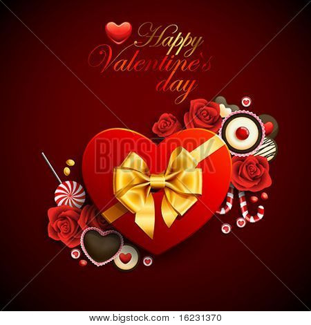 Red heart shape gift with sweets. Valentine background
