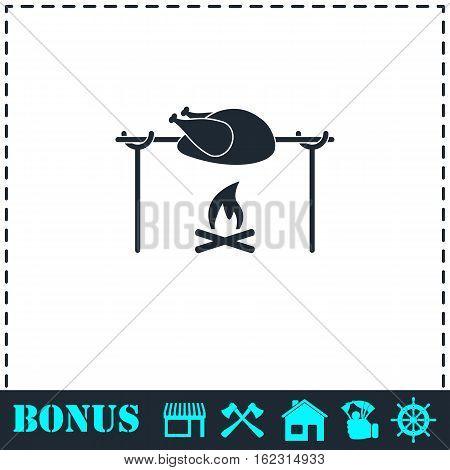 Skewer Chicken icon flat. Simple vector symbol and bonus icon