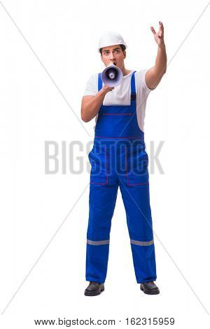 Man with megaphone isolated on white