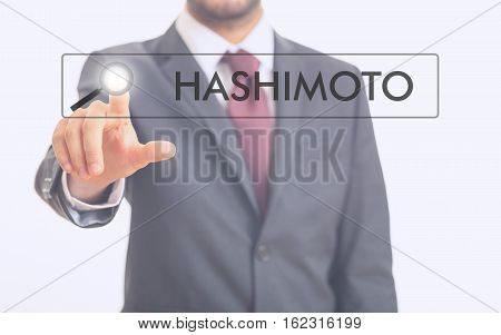 Man Pointing At Word Hashimoto