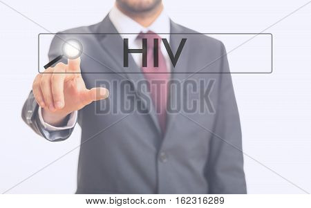 Man Pointing At Word Hiv