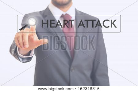 Man Pointing At Word Heart Attack