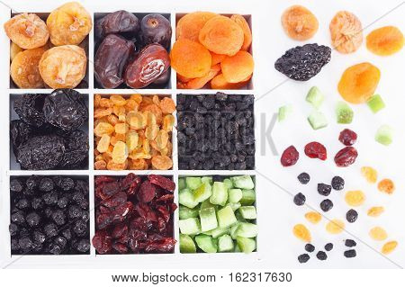 Dried fruit and dried berries collection, top view