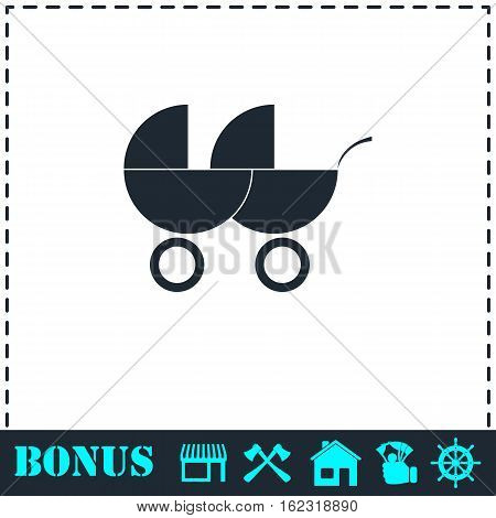 Baby carriage for two baby icon flat. Simple vector symbol and bonus icon