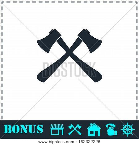Lumberjack axes crossed icon flat. Simple vector symbol and bonus icon