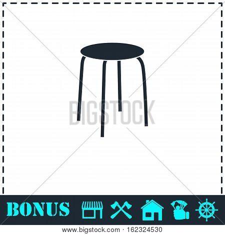 Stool icon flat. Simple vector symbol and bonus icon