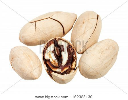 Above View Of Few Pecans In Shell Isolated