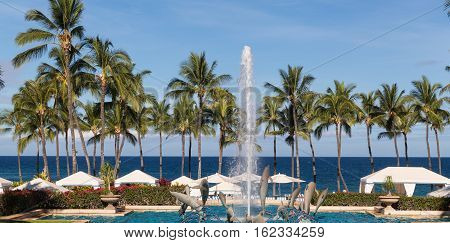 The view of the pool at the Grand Wailea Luxury resort in Maui Hawaii