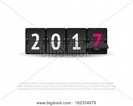 Flip clock changing to 2017. Analog scoreboard flip calendar changes to new 2017 year. New Year 2017 concept. Digital countdown timer with 2017 numbers represents time going forward.