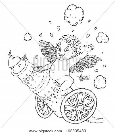 Valentine's day. Funny Cupid-boy riding on a cannon firing hearts. Vector illustration isolated on white. Coloring page