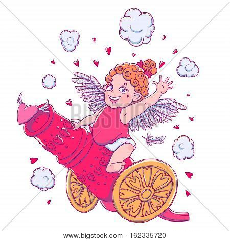 Valentine's day. Funny Cupid-girl riding on a cannon firing hearts. Vector illustration isolated on white. T-shirt printing