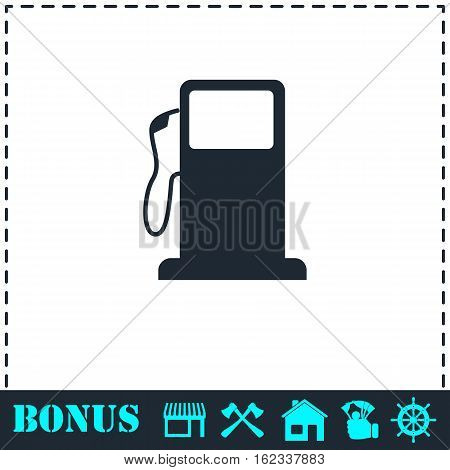 Gas station icon flat. Simple vector symbol and bonus icon