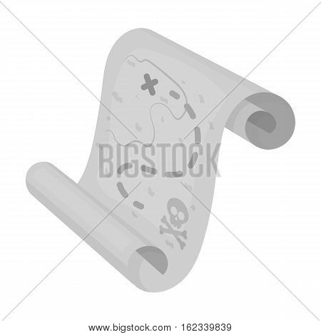 Pirate treasure map icon in monochrome style isolated on white background. Pirates symbol vector illustration.