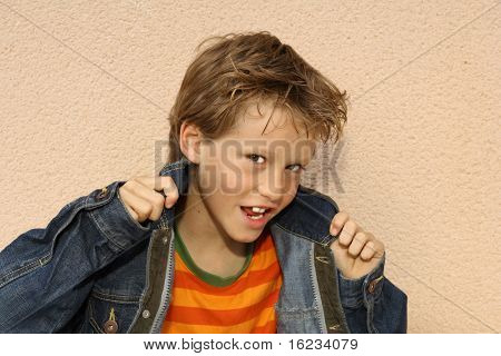 young boy with cool expression
