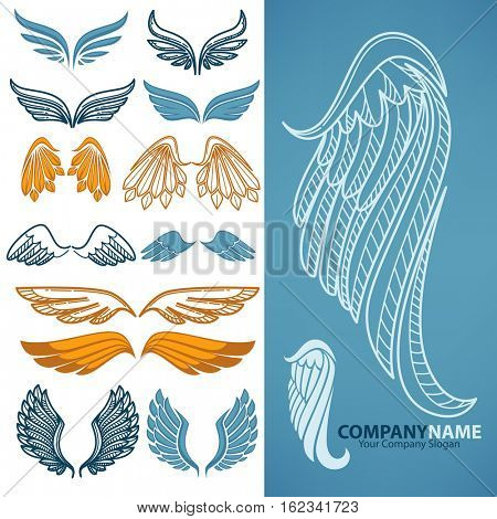 Set of decorative wings. Design elements for decoration logo, emblem or tattoo. freedom symbol: silhouette in shape of wings angel or bird. Vector isolated illustrations.